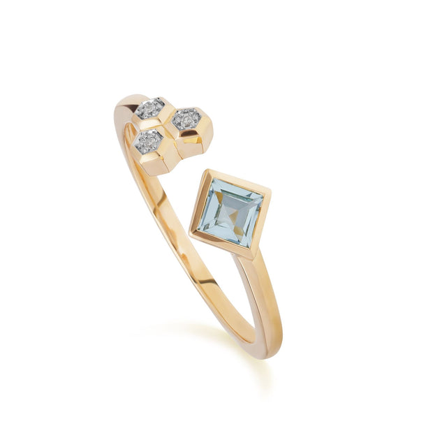 Contemporary Blue Topaz & Diamond Open Ring in 9ct Yellow Gold