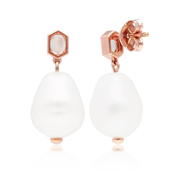 Modern Baroque Pearl & Moonstone Drop Earrings in Rose Gold Plated Sterling Silver