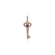 Tanzanite Rose Gold Key Charm Image 1