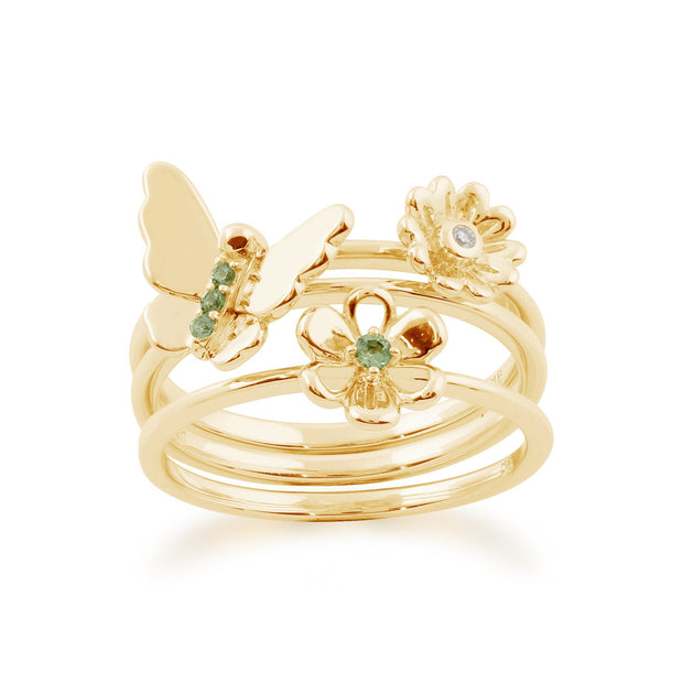 Floral Peridot & Diamond Butterfly & Flowers Three Stack Ring Set Image 1