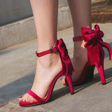 Heel Covering Open Toe Stiletto Heel Line-Style Buckle Bow Low-Cut Upper Sandals