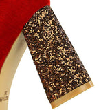 Chunky Heel Slip-On Sequin Pointed Toe Banquet 8.5cm Thin Shoes
