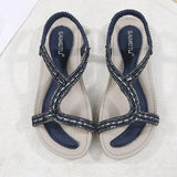 Elastic Band Strappy Open Toe Flat With Plain Low-Cut Upper Sandals