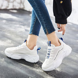 Lace-Up Low-Cut Upper Platform Round Toe Casual Mesh Sneakers
