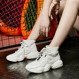 High-Cut Upper Platform Round Toe Lace-Up Casual Mesh Sneakers