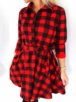 Long Sleeve Pocket Polo Neck Plaid Regular Dress