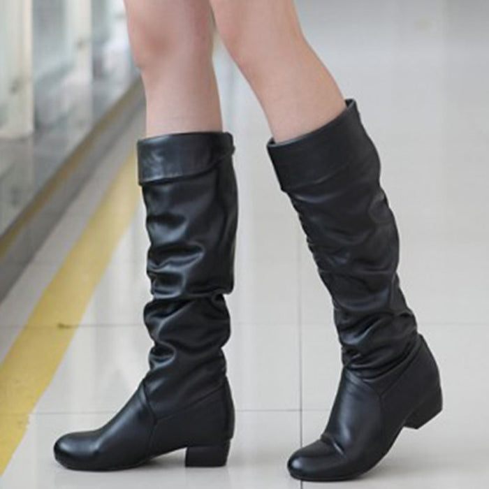 Comfortable Round Toe Slip-On Knee-High Boots