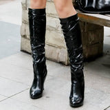 Fashion Sequin Rhinestone Point Toe Knee High Boots