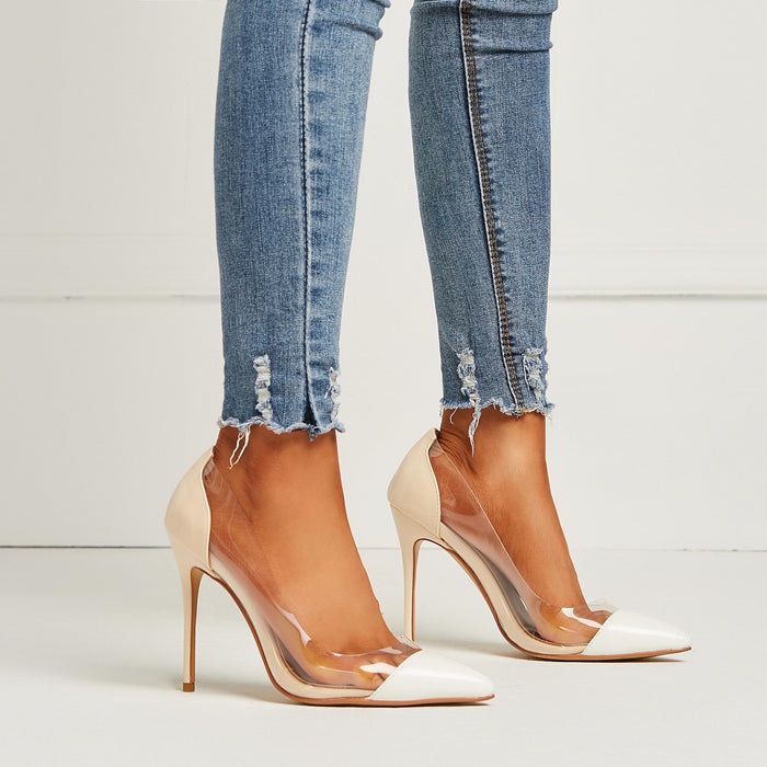 Sexy Pointed Toe Nude Stiletto Heels