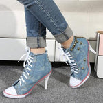 Fashion Canvas Lace-Up Rivet Ankle Boots
