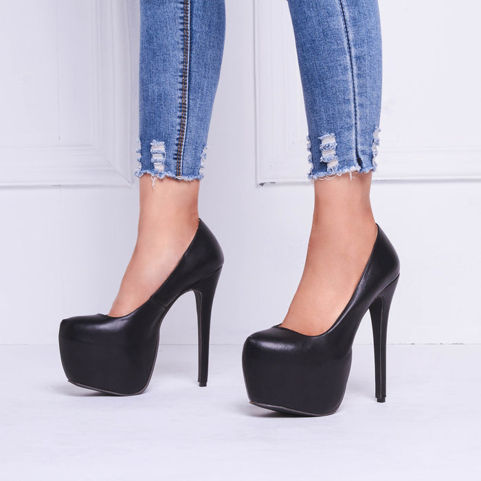 Black Platform PU Stiletto Heels