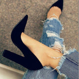 Black Pointed Toe Sexy Chunky Heels