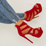 Red Suede Open Toe Stiletto  Heel Sandals