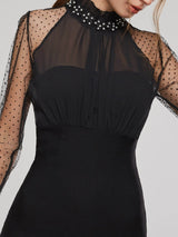 See-Through Stand Collar Women's Long Sleeve Dress