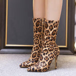 Sexy Leopard Pointed Toe Side Zipper Ankle Boots