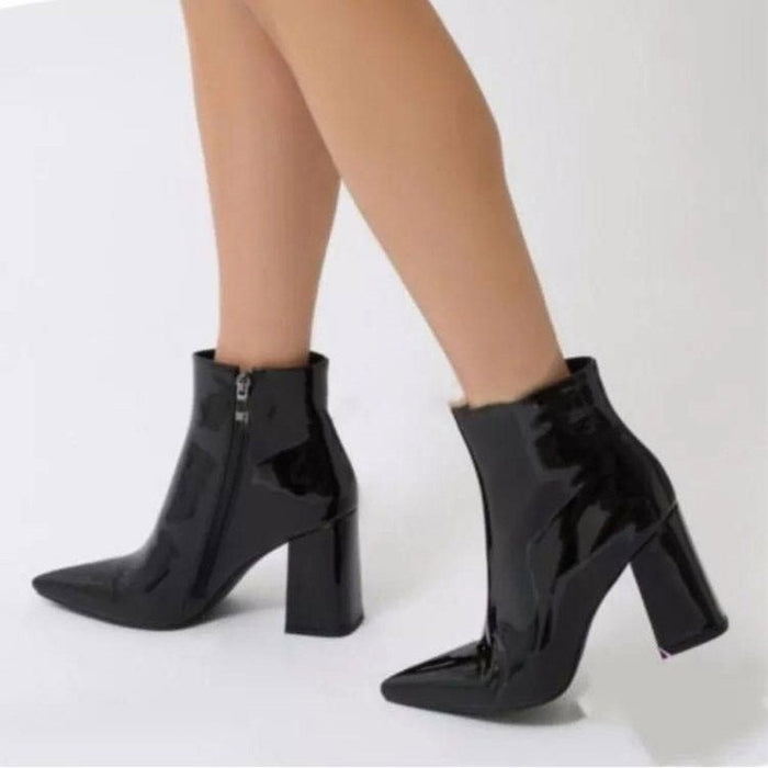Sexy Pointed Bright Leather Ankle Boots