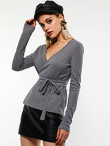Gray V-Neck Long Sleeve Casual Sweater
