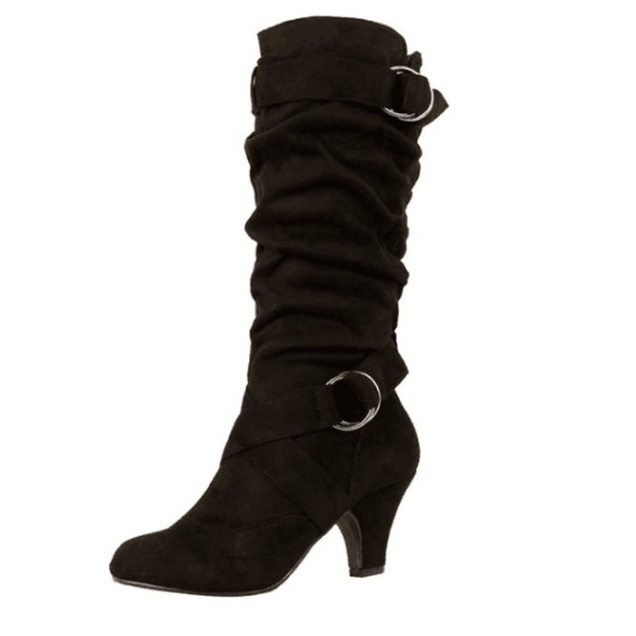 Mid-Calf Casual Buckle Knee High Boots