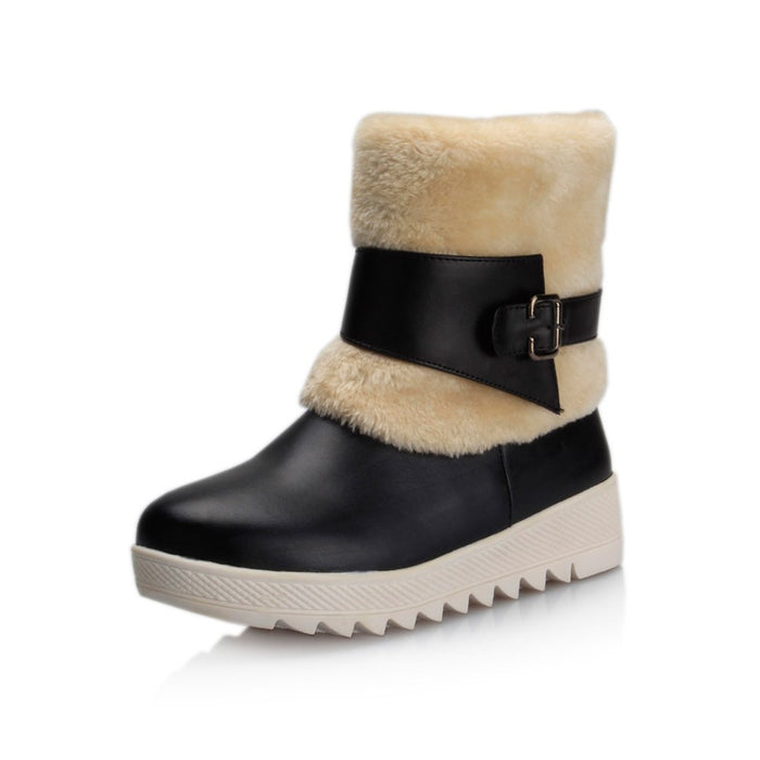 Comfortable Round Toe Slip-On Buckle Snow Boots