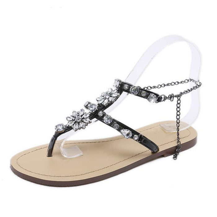 Large Code Rhinestone  Women's Flat Sandals