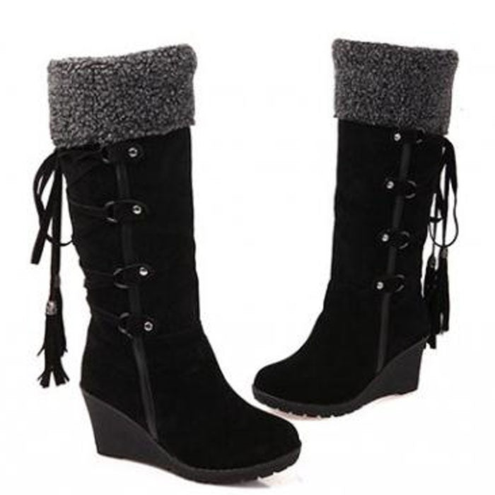 Pretty Casual Tassels Suede Knee High Boots