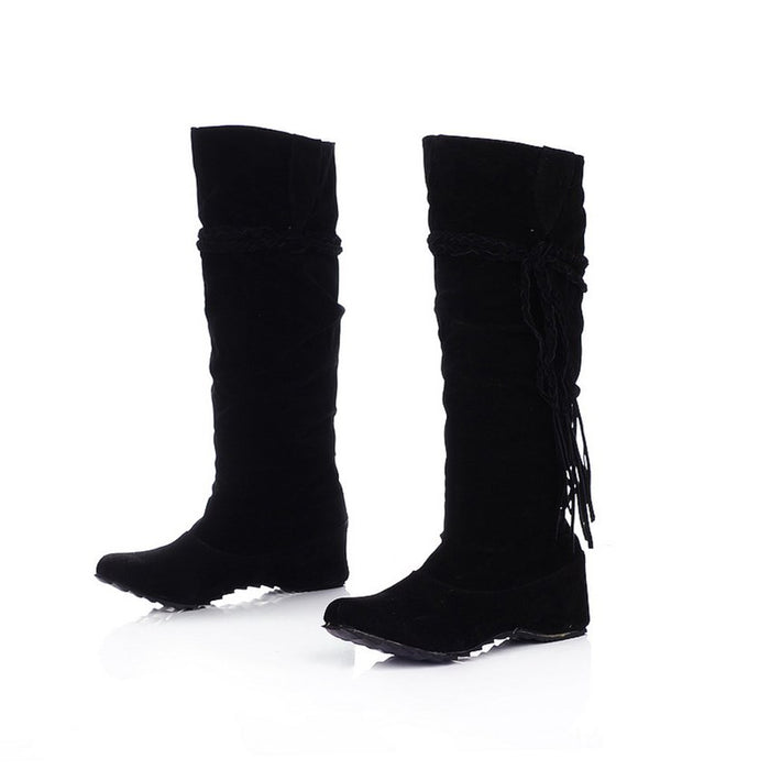 Suede Slip-On Suede Knee High Boots