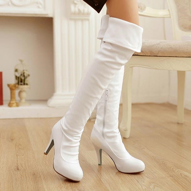 Fashion Round Toe Casual Thigh High Boots