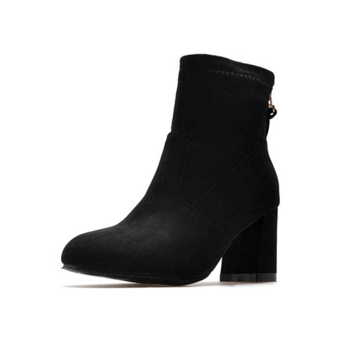Stylish Suede Zipper Banquet Ankle Boots