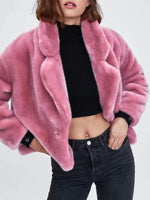 Sexy Lapel One Button Fur Women's Overcoat