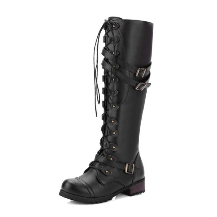 Casual Cross Strap Buckle Knee High Boots