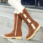 Casual Platform Buckle Knee High Snow Boots