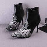 Serpentine Pointed Toe High Heel Ankle Boots
