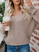 Stylish Regular V-Neck Long Sleeve Sweater