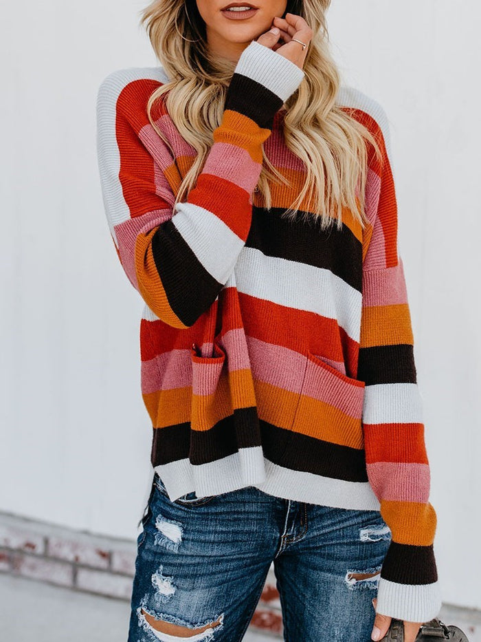Stripe Regular Long Sleeve Winter Sweater