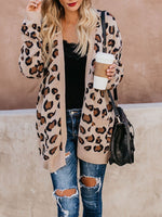 V-Neck Leopard Print Loose Long Sleeve Sweater