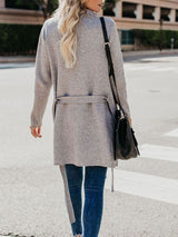 Gray Loose Lace-Up Trendy Mid-Length Overcoat