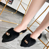 Suede Slip-On Flat Point Toe Stylish Slippers