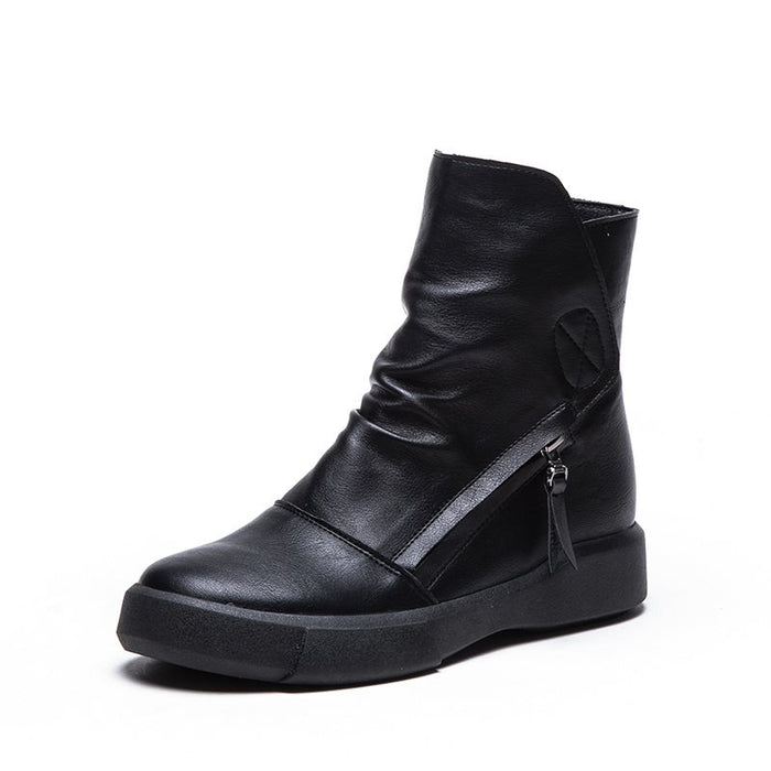 Thread  Plain Round Toe Side Zipper Ankle Boots