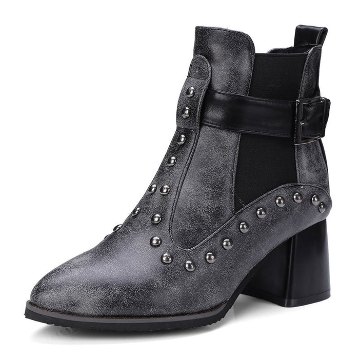 Rivet Thread Chunky Heel Pointed Toe Ankle Boots