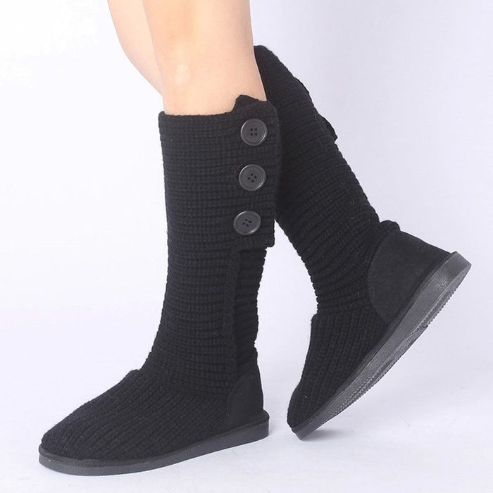 Round Toe Plain Slip-On Flat With Short Floss Thread Boots