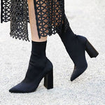 Stylish Plain Pointed Toe Slip-On Ankle Boots
