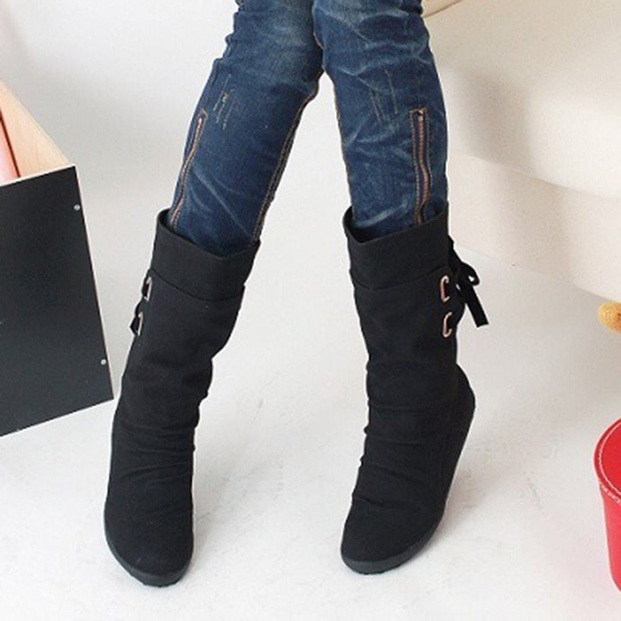 Lace-Up Back Round Toe Plain Casual Ankle Boots