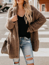 Coffee Stylish Double-Breasted Loose Sweater