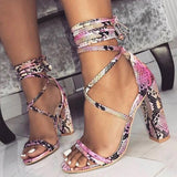 Heel Covering Lace-Up Open Toe Chunky Heel Serpentine Low-Cut Upper Sandals