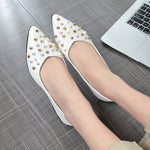 Block Heel Slip-On Pointed Toe Rivet Casual Low Heel Thin Shoes