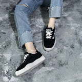 Lace-Up Round Toe Platform Low-Cut Upper Plain Suede Sneakers
