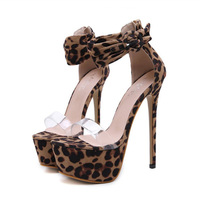Heel Covering Open Toe Line-Style Buckle Stiletto Heel Platform Low-Cut Upper Sandals