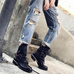 Fashion Side Zipper Round Toe Worn Buckle Ankle Boots