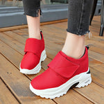 Round Toe Velcro Low-Cut Upper Platform Plain Hidden Elevator Heel Sneakers