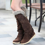 Plain Slip-On Round Toe Short Floss Buckle Boots